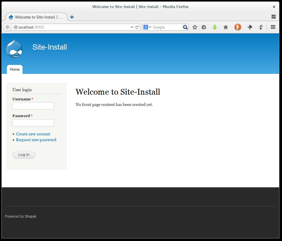 Drupal funcionando en el servidor web integrado de PHP